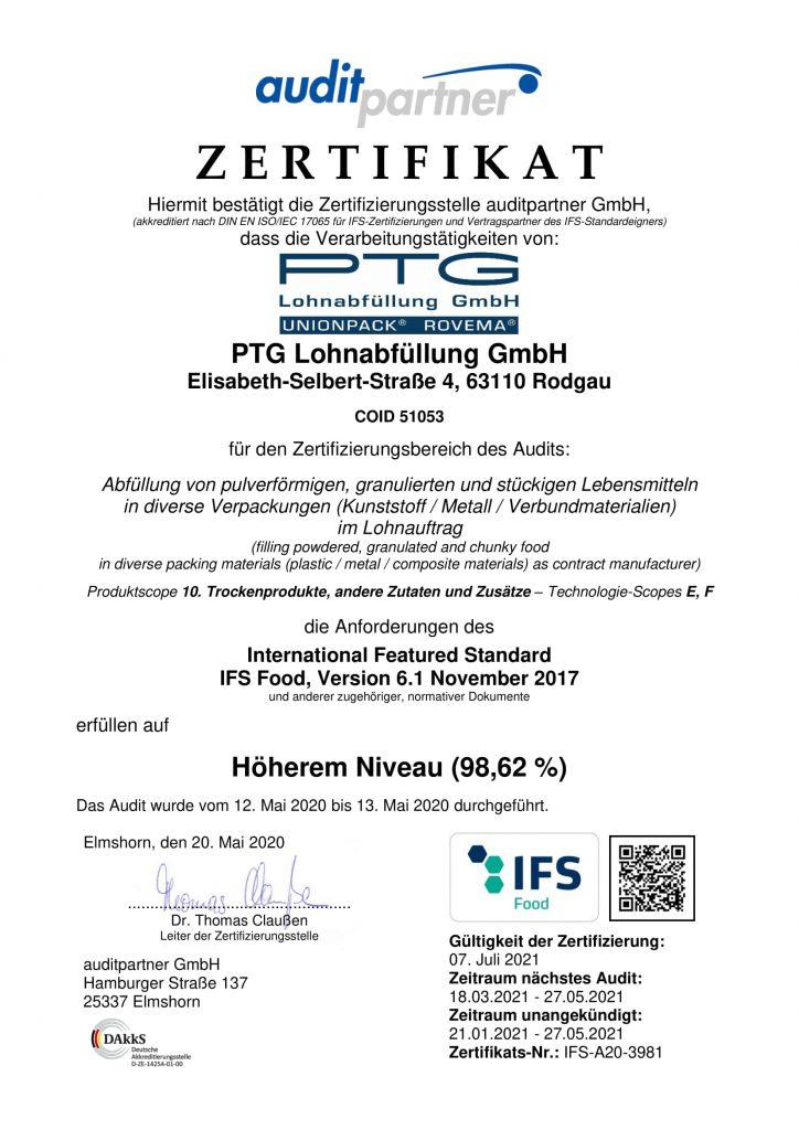 ptg ifs zertifikat